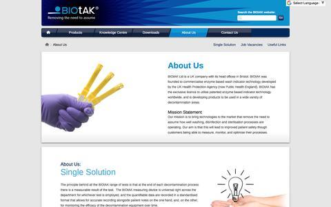 Screenshot of About Page biotak.net - About Us - BIOtAK - captured Oct. 9, 2017