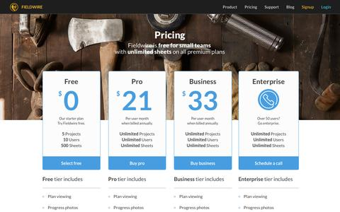 Screenshot of Pricing Page fieldwire.com - Fieldwire: Setup a project for free - captured Feb. 10, 2016