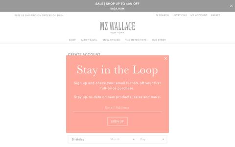 Screenshot of Signup Page mzwallace.com - Create Account | MZ Wallace - captured May 25, 2017
