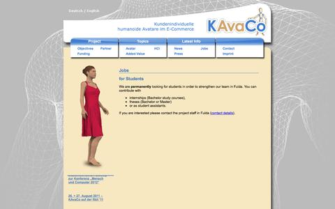 Screenshot of Jobs Page kavaco.info - Jobs - captured Feb. 10, 2016