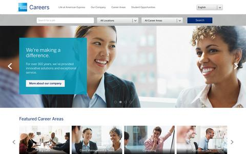 Screenshot of Jobs Page americanexpress.com - American Express Global Careers - captured April 2, 2016