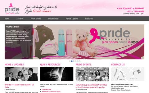 Screenshot of Home Page pride.org.my - PRIDE Foundation Malaysia   Pride for Breast Cancer Causes - captured Sept. 19, 2014