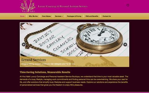 Screenshot of Home Page vivavalet.ca - Viva Valet - captured Oct. 7, 2014