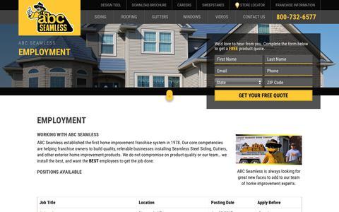 Screenshot of Jobs Page abcseamless.com - Employment Opportunities   ABC Seamless - captured July 28, 2018