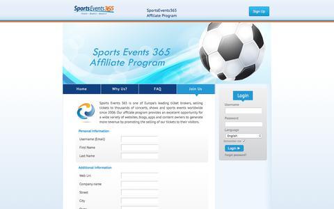 Screenshot of Signup Page sportsevents365.com - Sports Events 365 Affiliate Program  Program benefits - captured Feb. 3, 2018