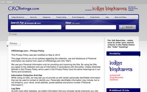 Screenshot of Privacy Page crolistings.com - Privacy - CRO Listings - captured Oct. 1, 2014