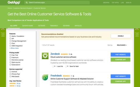 Screenshot of Support Page getapp.com - Best Customer Service Software Comparison for 2015 | GetApp - captured Nov. 10, 2015