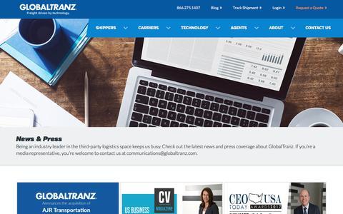 Screenshot of Press Page globaltranz.com - Blog Post and New Archives | GlobalTranz - captured Jan. 13, 2018