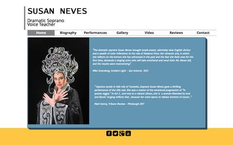 Screenshot of Home Page susanneves.com - Susan Neves, soprano - captured Oct. 9, 2015