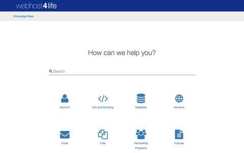 Screenshot of Support Page webhost4life.com - WebHost4Life Knowledge Base - captured Feb. 10, 2018
