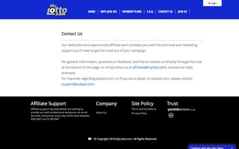 Screenshot of Contact Page mylotto.com - Contact Us | MyLotto.com - captured Sept. 6, 2016