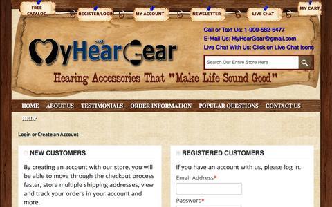 Screenshot of Login Page myheargear.com - Customer Login - captured Dec. 5, 2015