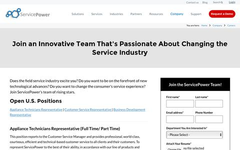 Screenshot of Jobs Page servicepower.com - Field Service Software Solutions | Careers | ServicePower - captured March 15, 2018