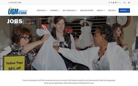 Screenshot of Jobs Page ugmsalem.org - Jobs - Union Gospel Mission - captured Oct. 24, 2017