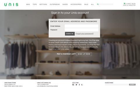 Screenshot of Login Page unisnewyork.com - Account – UNIS - captured Oct. 27, 2014