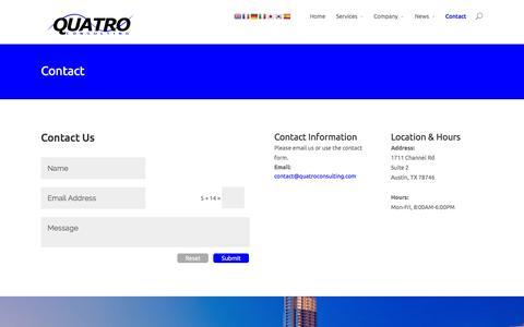 Screenshot of Contact Page quatroconsulting.com - Contact   Quatro Consulting - captured Oct. 27, 2014