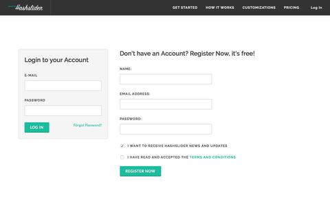 Screenshot of Login Page hashslider.com - Hashslider: Get started and set your slideshow - captured Feb. 7, 2018