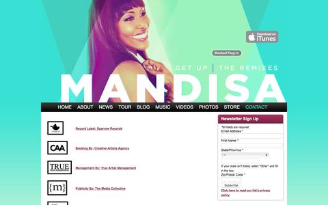 Screenshot of Contact Page mandisaofficial.com - Contact » Mandisa Official - captured June 11, 2016