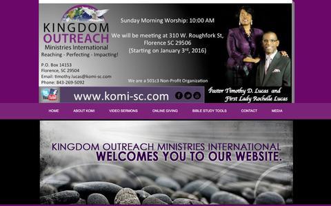 Screenshot of Home Page komivirginia.com - KINGDOM OUTREACH MINISTRIES INTERNATIONAL - captured Feb. 12, 2016