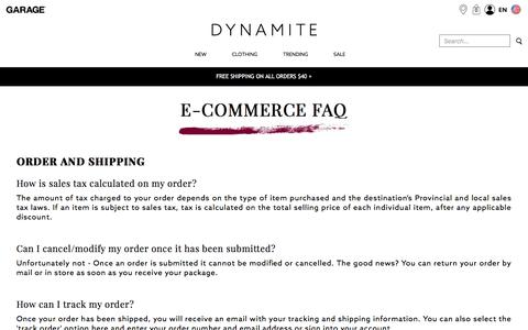 Screenshot of FAQ Page dynamiteclothing.com - FAQ – E-Commerce - captured June 30, 2017