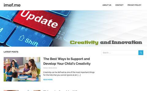 Screenshot of Home Page imef.me - imef.me - Creativity & Innovation - captured Sept. 22, 2017