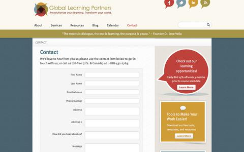 Screenshot of Contact Page globallearningpartners.com - Contact | Global Learning Partners - captured Aug. 8, 2017