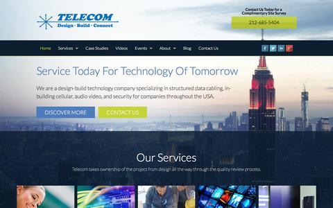 Screenshot of Home Page telecom-wiring.com - Cabling Company New York   Telecom Infrastructure Corp - captured Feb. 8, 2018