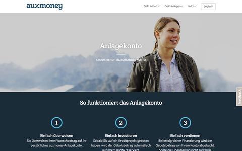 Kostenloses Anlagekonto von auxmoney