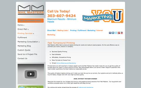 Screenshot of Services Page mailmasters.net - Fast Digital Printing Denver | Free Digital Printing Quote - captured Oct. 5, 2017
