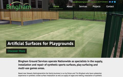 Screenshot of Home Page binghamgroundservices.co.uk - Bingham Ground Services | Artificial Sports Pitches and Lawns - captured Aug. 2, 2018