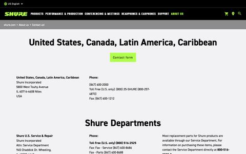 Screenshot of Contact Page shure.com - Contact us - captured April 26, 2019
