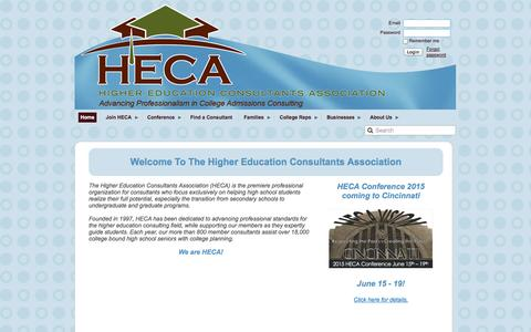 Screenshot of Home Page hecaonline.org - Higher Education Consultants Association - Home - captured Jan. 26, 2015