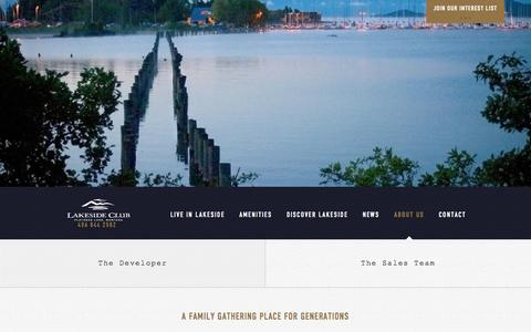 Screenshot of About Page lakesideclub.com - The Developer - Lakeside Club Discovery Visit - captured Oct. 27, 2014