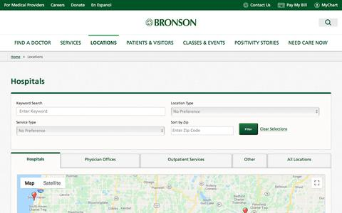 Screenshot of Locations Page bronsonhealth.com - Locations - Bronson Healthcare - captured Jan. 9, 2020