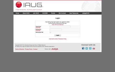 Screenshot of Login Page iaug.org captured Sept. 23, 2014