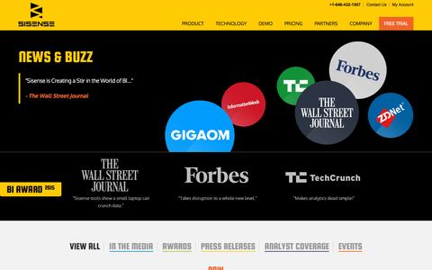 Screenshot of Press Page sisense.com - News, Buzz and Press for Sisense Business Analytics - captured Oct. 1, 2015