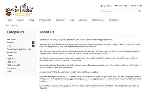 Screenshot of About Page eyelidsreadingglasses.com - About Us | Eyelids | Buy Affordable Reading Glasses Online - captured Oct. 28, 2014