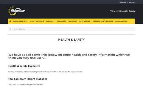 Screenshot of Terms Page ridgegear.com - Health & Safety - captured Aug. 14, 2016