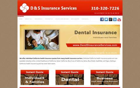 Screenshot of Home Page dandsinsuranceservices.com - Insurance Torrance California Business, Dental, Individual insurance - captured Oct. 3, 2014