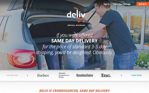 Screenshot of Home Page deliv.co - Deliv - Delivery. Shortened. - captured Sept. 13, 2014
