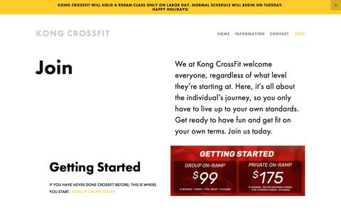 Screenshot of Signup Page Pricing Page kongcrossfit.com - Join — Kong CrossFit - captured Sept. 20, 2018