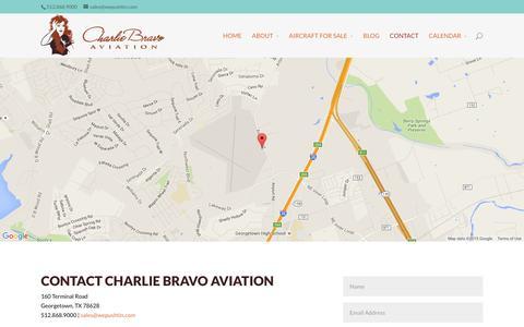 Screenshot of Contact Page wepushtin.com - Contact - Charlie Bravo Aviation - captured Dec. 8, 2015