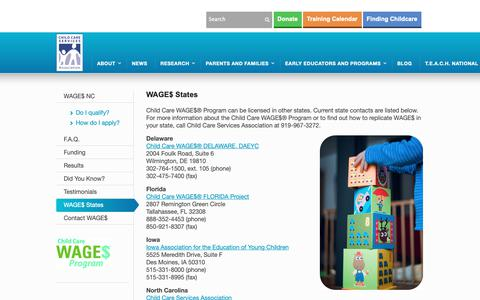 Screenshot of Locations Page childcareservices.org - WAGE$ States - Child Care Services Association - captured Sept. 27, 2018