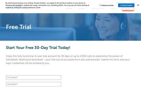 Screenshot of Trial Page vanillasoft.com - Sales Engagement & Sales Cadence Automation Platform | Free Trial - captured Sept. 19, 2018