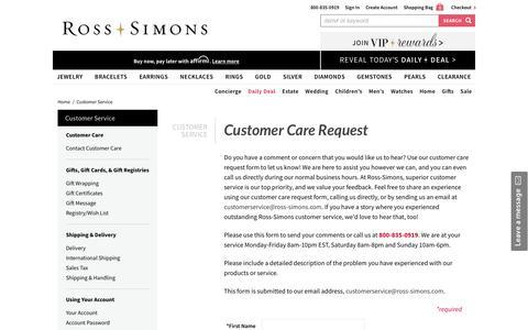 Screenshot of Contact Page ross-simons.com - Ross-Simons - captured Sept. 22, 2019