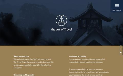 Screenshot of Terms Page theartoftravel.net - Terms - The Art of Travel - captured Sept. 20, 2018