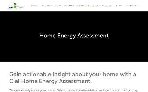 Screenshot of Services Page cielpower.com - Energy Assessment — Ciel Power LLC | Insulation Contractor | Home Energy Audit - captured Sept. 28, 2018