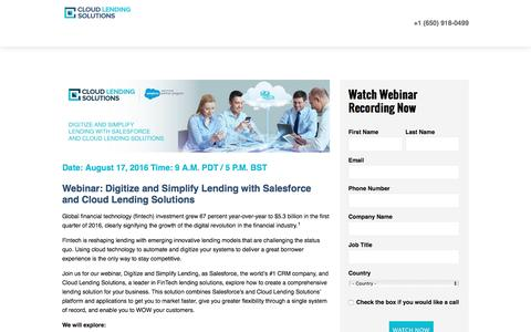 Screenshot of Landing Page cloudlendinginc.com - Webinar: 08172016 Digitize and Simplify Lending with Salesforce and Cloud Lending Solutions - captured Aug. 23, 2016