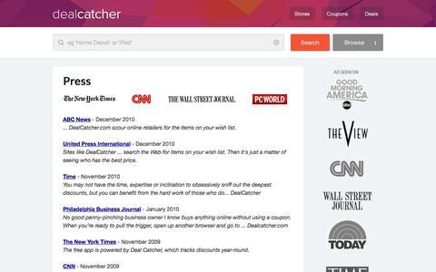 Screenshot of Press Page dealcatcher.com - DealCatcher Press � Contact Us For Press Inquiries - captured Dec. 3, 2015