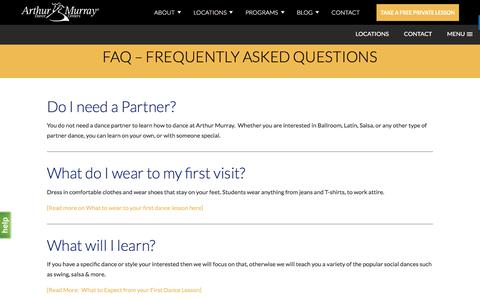 Screenshot of FAQ Page arthurmurraylive.com - Frequently Asked Questions | Arthur Murray Dance Studios - captured July 4, 2018